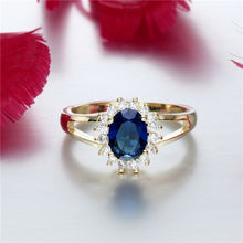 Load image into Gallery viewer, Newest Round Cut Sapphire Gemstone Gold Ring & Fashion Zircon 14KT Gold Ring