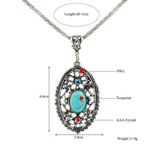 Load image into Gallery viewer, Vintage Retro Beautiful Turquoise Hollow Crystal Inlay Pendant Tibetan Silver Necklace