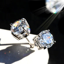 Load image into Gallery viewer, 18K White Gold Round Cut Moissanite White Diamond Ear Studs