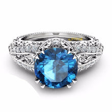 Load image into Gallery viewer, Luxury 925 Sterling Silver / 14K Rose Gold / Topaz / Blue Sapphire / Champagne  Ring