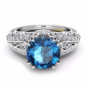 Luxury 925 Sterling Silver / 14K Rose Gold / Topaz / Blue Sapphire / Champagne  Ring
