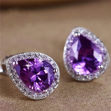 Load image into Gallery viewer, Elegant Pear Cut White Gold Amethyst White Topaz Stud Earrings