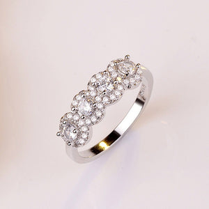 925 Sterling Silver Natural White Sapphire Gemstone Diamond Ring