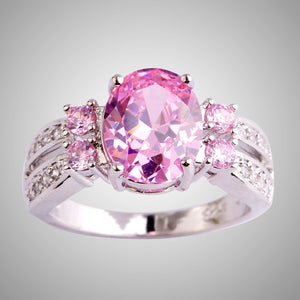 Exquisite 925 Sterling Silver Oval Cut Pink Topaz Gemstone Ring