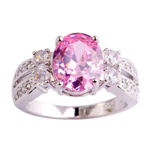 Load image into Gallery viewer, Exquisite 925 Sterling Silver Oval Cut Pink Topaz Gemstone Ring