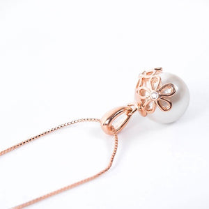Rose Gold Crystal Faux Pearl Pendant Necklace Earrings Set