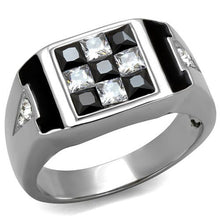 Load image into Gallery viewer, Men's 2.56 Ct Clear & Black Princess Cut CZ Stainless Steel Ring