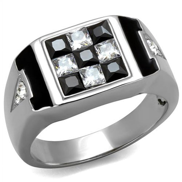 Men's 2.56 Ct Clear & Black Princess Cut CZ Stainless Steel Ring