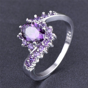 Exquisiter Weiss Gold Amethyst Damen Ring