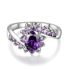 Load image into Gallery viewer, Exquisiter Weiss Gold Amethyst Damen Ring