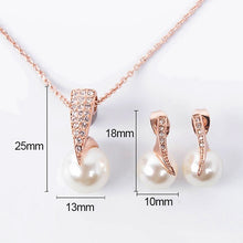 Load image into Gallery viewer, Rose Gold Crystal Faux Pearl Pendant Necklace Earrings Set