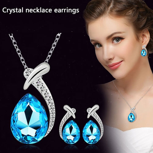 Crystal Pendant Silver Plated Chain Necklace and Stud Earrings Set