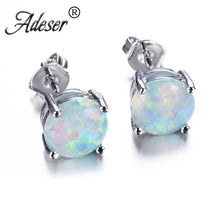 Load image into Gallery viewer, Elegant Round White Fire Opal 925 Sterling Silver Stud Earrings