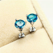 Load image into Gallery viewer, 18K White Gold Three-Prong Martini 1ct Round Aquamarine Daimond Stud Earrings