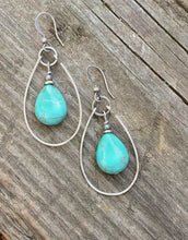 Load image into Gallery viewer, Turquoise Earrings Silver and Turquoise Hoop Earrings