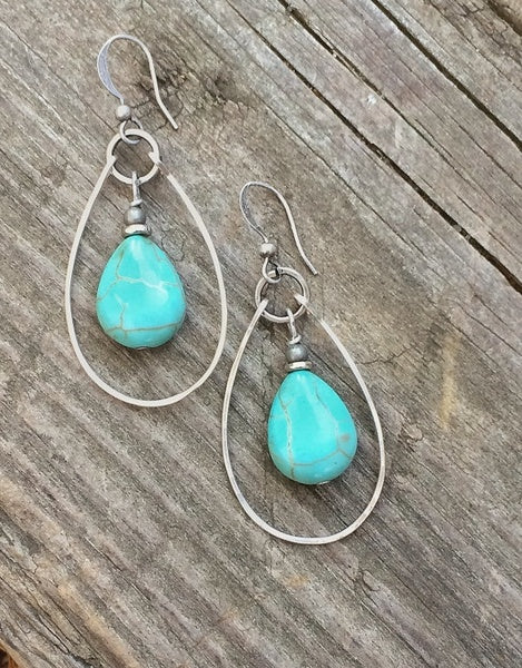 Turquoise Earrings Silver and Turquoise Hoop Earrings