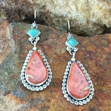 Load image into Gallery viewer, Vintage 925 Sterling Silver Natural Gemstone Pink Turquoise Earrings