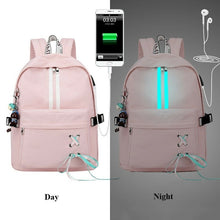 Load image into Gallery viewer, Anti Theft Reflective Waterproof Women Backpack USB Charge School Bags For Girls
