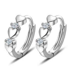 925 Sterling Silver Zircon Silver Heart-shaped Hoop Earrings