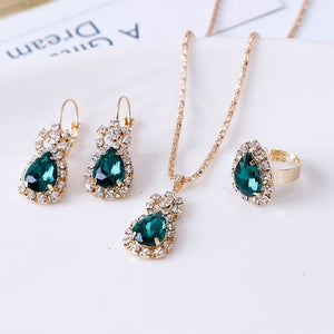 4 Pieces / Set of Luxury Sapphire Princess Crown Necklace Set
