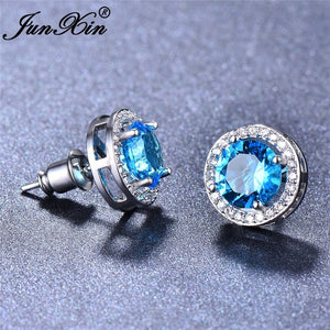 Elegant 10kt White Gold Plated 8mm Round Cut Natural Sapphire Ear Studs