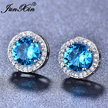 Load image into Gallery viewer, Elegant 10kt White Gold Plated 8mm Round Cut Natural Sapphire Ear Studs