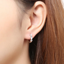 Load image into Gallery viewer, 925 Sterling Silver Zircon Silver Heart-shaped Hoop Earrings