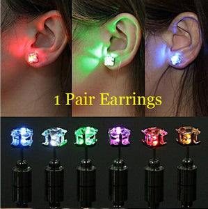 Women Luminous Earrings Diamond Shape Blinking Thick LED Earstuds