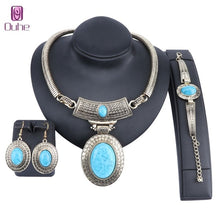Load image into Gallery viewer, Vintage Dubai Retro Gold Big Turquoise Jewelry Set