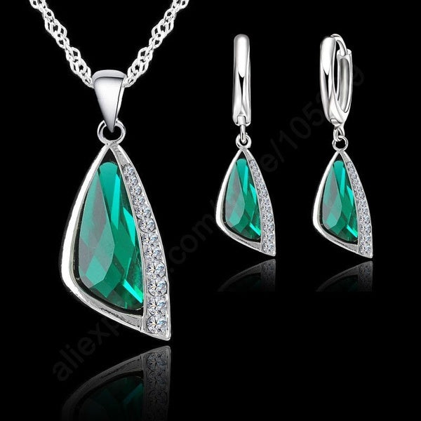 925 Sterling Silver Austrain Crystal Pendant Necklace Hoop Earring Set