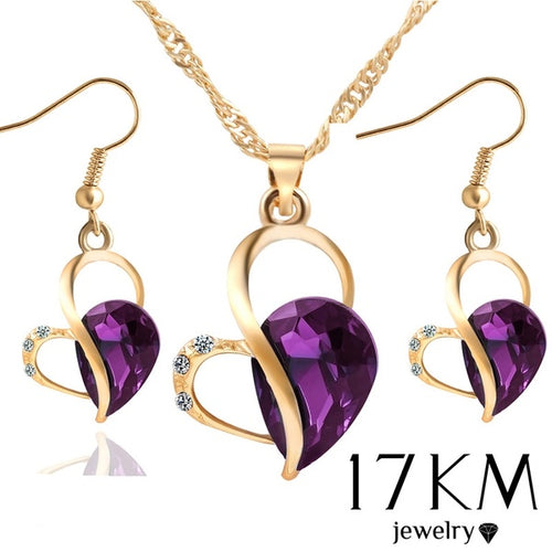 Purple Green Blue Crystal Necklace Earring Jewelry Set Gold Silver Plated