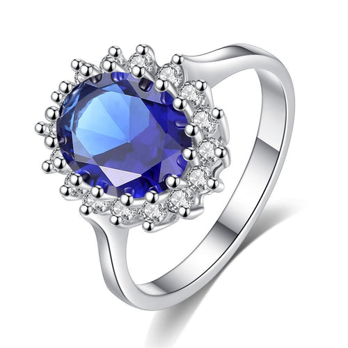 Princess Diana William Kate Middleton's Created Blue Ring 925 Sterling Silver Ring