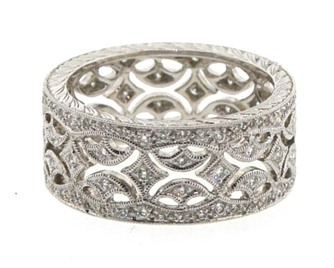 Pattern Wide Diamond Band