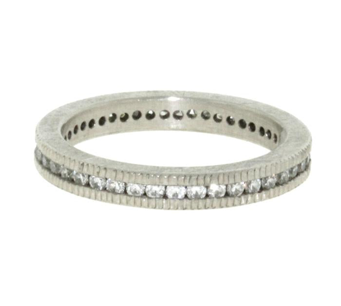 Ribbed Palladium and White Diamond Band