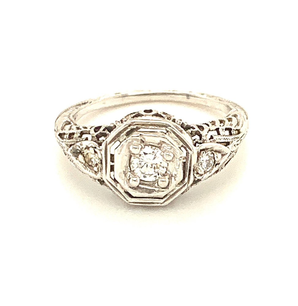 White Gold and Diamond Antique Ring