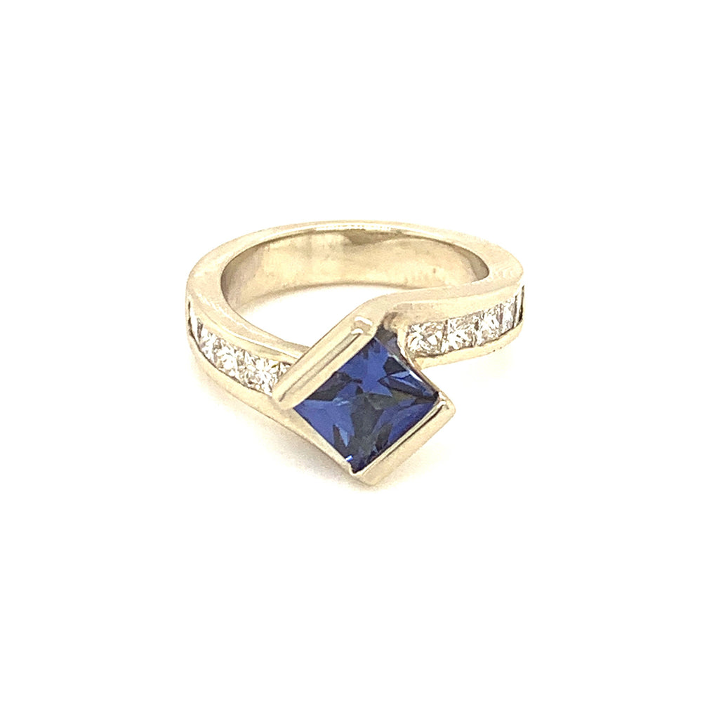 Princess Cut Blue Sapphire and Diamond