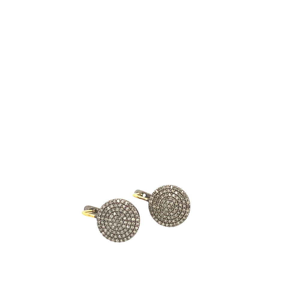Circle Diamond Drop Earrings