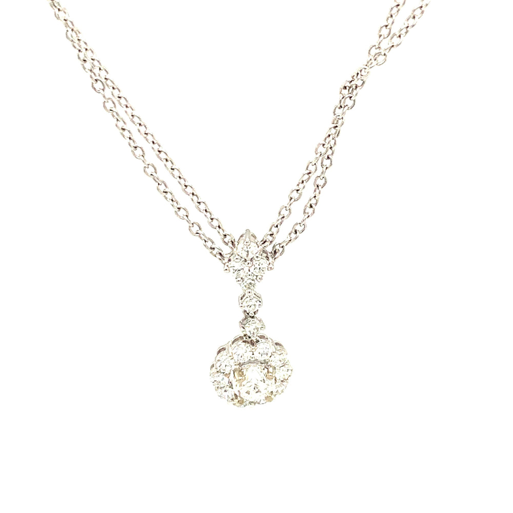 Halo Diamond Double Chain Necklace