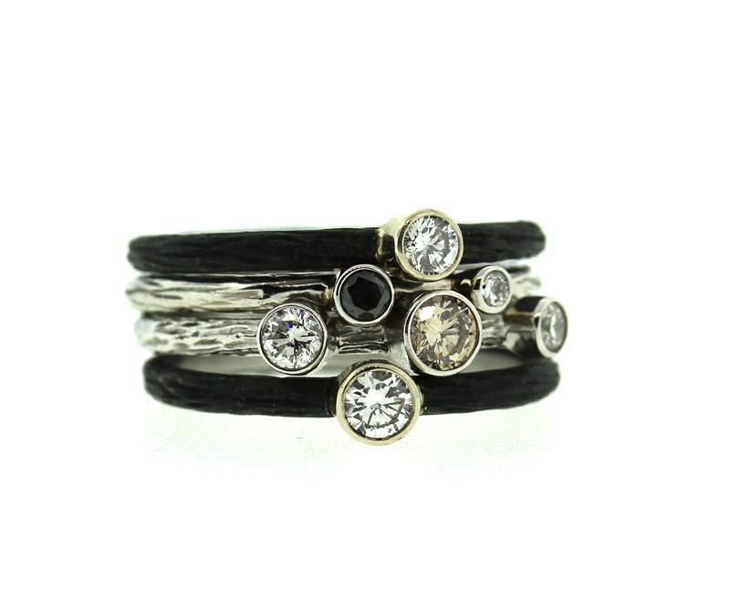 White Gold Three Diamond Stacking Ring
