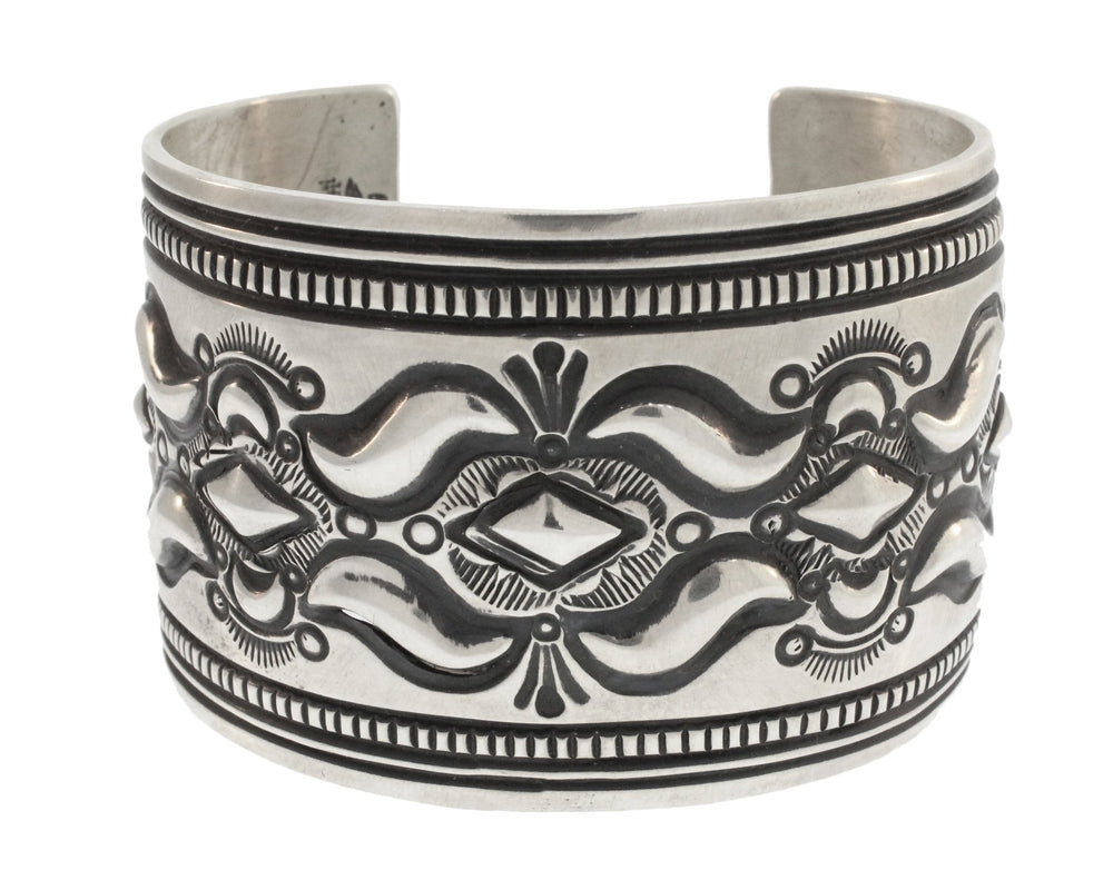 LARGE STERLING SILVER CUFF WITH DIAMOND DETAILING