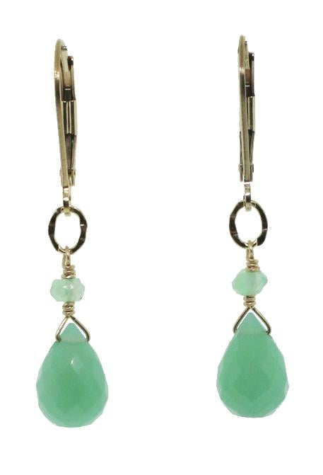 Chrysoprase Tear Drop Earrings