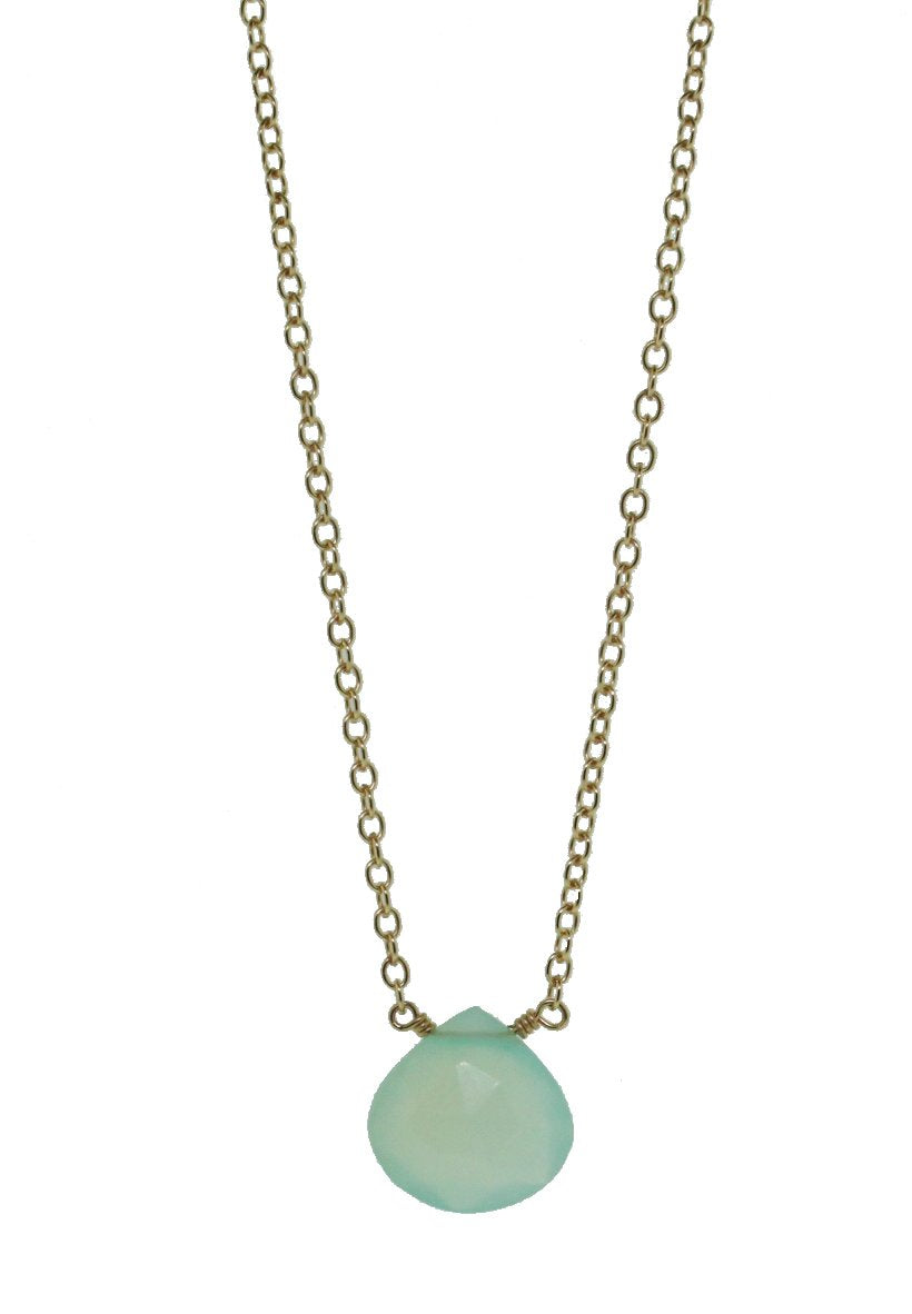 Chalcedony Tear Drop Necklace