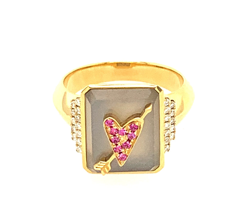 Customizable Signet Ring with Heart and Arrow Motif