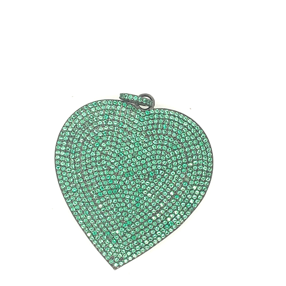 Sterling Silver Emerald Heart Pendant