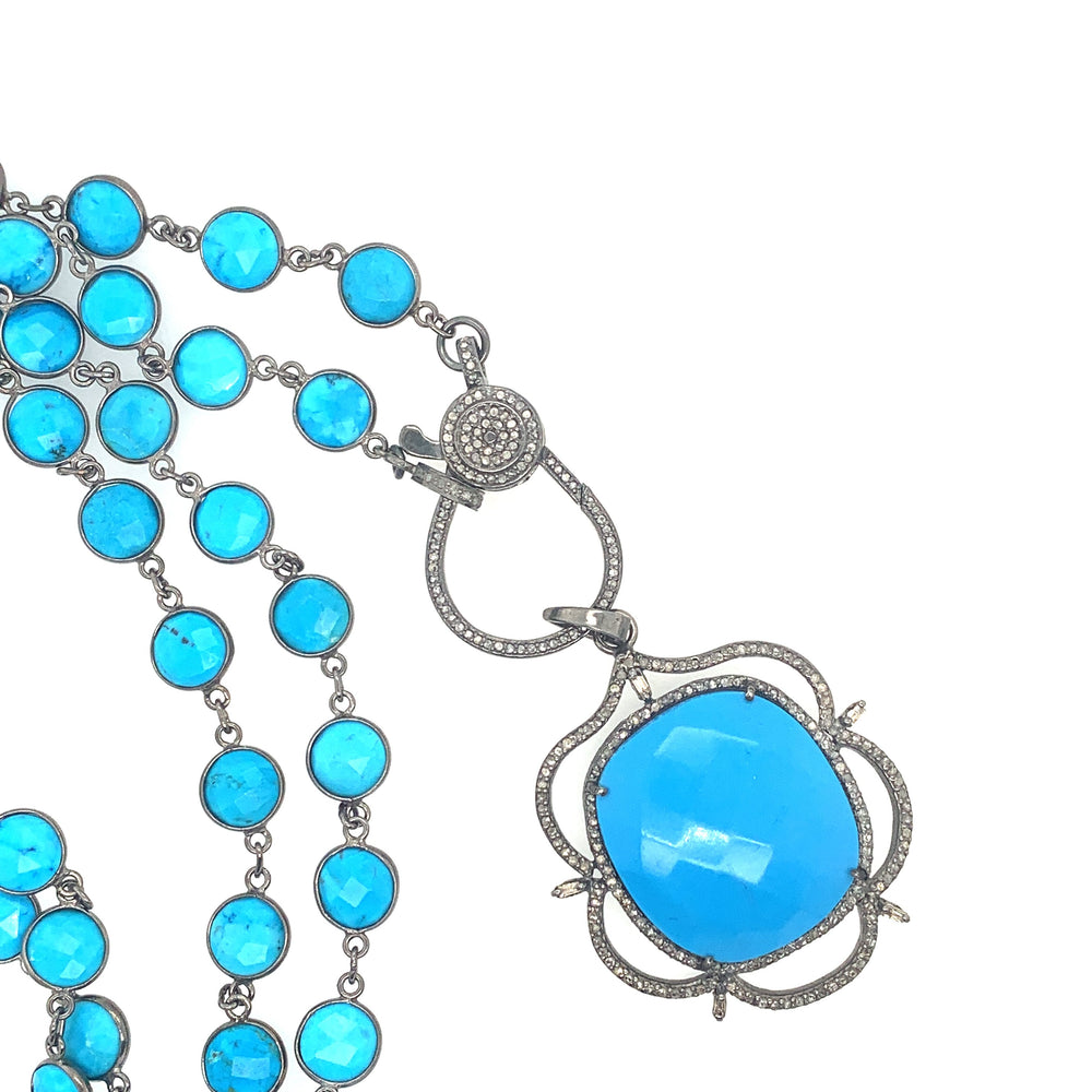 Sterling Silver Bezel Turquoise Necklace