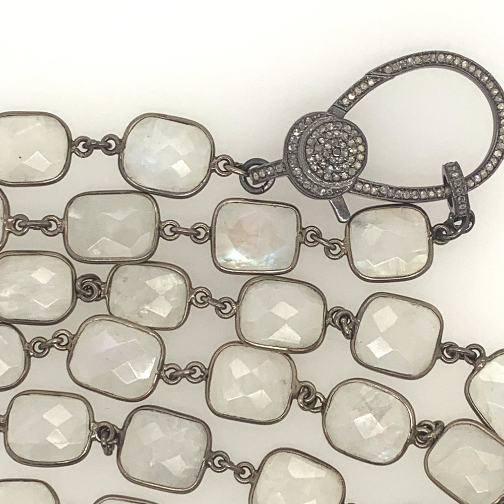 Sterling Silver Moonstone Bezel Necklace