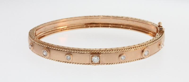 ROUND AND SQUARE DIAMOND ROSE GOLD STACKING BANGLE