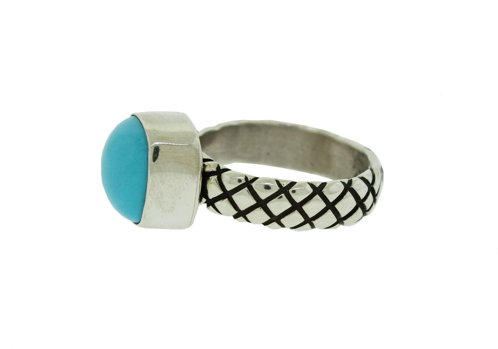 Sterling Silver Square Sleeping Beauty Turquoise Ring