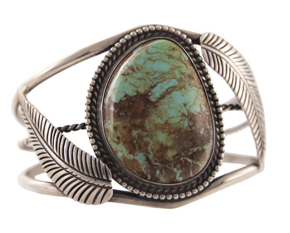 Sterling Silver Large Green Turquoise Feather Cuff