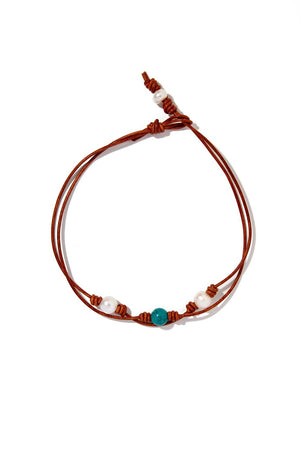 Double Strand Pearl and Leather Turquoise Choker